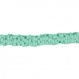 Clay Beads, green, D: 5-6 mm, hole size 2 mm, 145 pc/ 1 strand