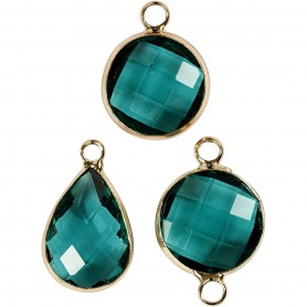 Jewellery Pendant, green, H: 15-20 mm, hole size 2 mm, 1 pack