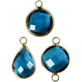 Jewellery Pendant, turquoise, H: 15-20 mm, hole size 2 mm, 1 pack