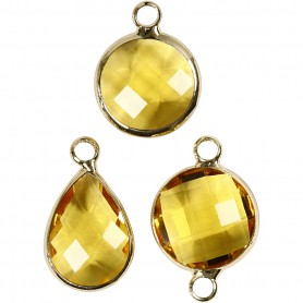 Jewellery Pendant, yellow, H: 15-20 mm, hole size 2 mm, 1 pack