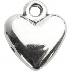 Heart pendant, silver-plated, size 13x15 mm, 10 pc/ 1 pack