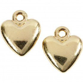 Heart pendant, gold-plated, size 13x15 mm, 10 pc/ 1 pack