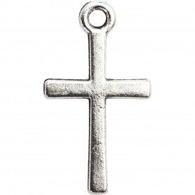 Cross pendant, silver-plated, size 10x18 mm, 20 pc/ 1 pack