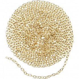 Chain, gold-plated, W: 2 mm, 2 m/ 1 pakk