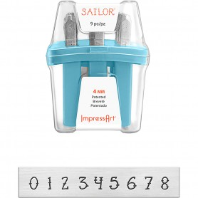 Embossing Stamps, size 4 mm, Font: Sailor , 9 pc/ 1 set
