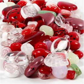 Glass beads, assorted colours, ladybirds, leaves, hearts, D: 5-22 mm, hole size 0,5-1,5 mm, 350 g/ 1 pack