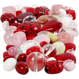 Glass beads, assorted colours, Ladybugs, leaves, hearts, size 5-22 mm, hole size 0,5-1,5 mm, 60 g/ 1 pack