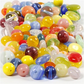 Glass beads, assorted colours, round, oval, circular, D: 6-13 mm, hole size 0,5-1,5 mm, 350 g/ 1 pack