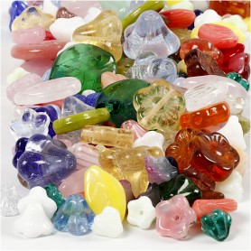 Glass beads, assorted colours, leaves, flowers, D: 6-17 mm, hole size 0,5-1,5 mm, 350 g/ 1 pack