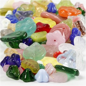 Glass beads, assorted colours, leaves, flowers, D: 6-17 mm, hole size 0,5-1,5 mm, 60 g/ 1 pack