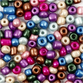 Rocaille Seed Beads, metallic colours, D: 5 mm, size 4/0 , hole size 1,2 mm, 130 g/ 1 pack
