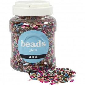 Bead Mix, metallic colours, L: 6 mm, D: 1,5-2 mm, hole size 1 mm, 520 g/ 1 tub
