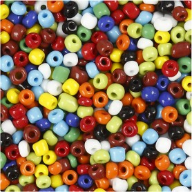 Rocaille Seed Beads, assorted colours, D: 4 mm, size 6/0 , hole size 0,9-1,2 mm, 1000 g/ 1 tub