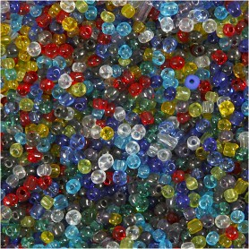Rocaille Seed Beads, Gloss transparent, D: 4 mm, size 6/0 , hole size 0,9-1,2 mm, 1000 g/ 1 pack