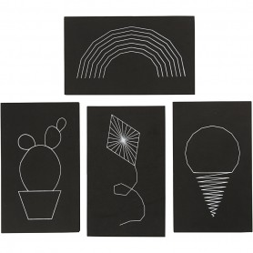 String Art, black, size 20x12 cm, thickness 10 mm, 16 pc/ 1 pack