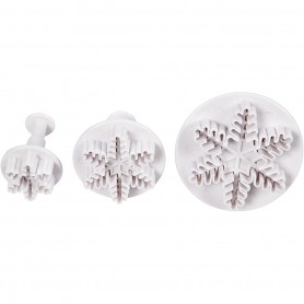 Cookie cutters with stamp, white, snowflake, D: 3,2+4,8+6,5 cm, 3 pc/ 1 pack