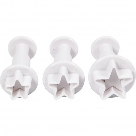 Cookie cutters with stamp, white, star, D: 2,1+2,3+2,6 cm, 3 pc/ 1 pack