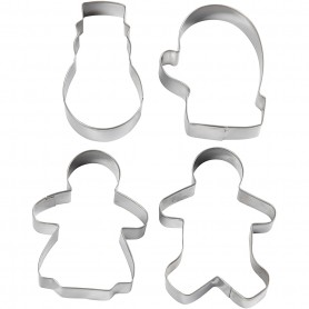 Cookie cutters, snowman, glove, ginger women and ginger man, H: 8 cm, 4 pc/ 1 pack
