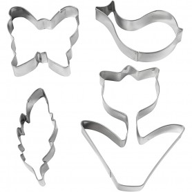 Cookie cutters, flower, bird, butterfly, feather, H: 11 cm, 4 pc/ 1 pack