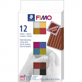 FIMO® Leather Effect , assorted colours, 12x25 g/ 1 pakk