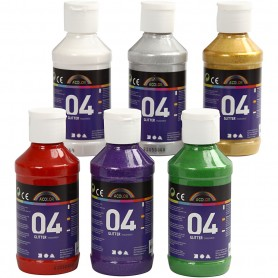A-Color Acrylic Paint, assorted colours, no. 04, glitter, 6x120 ml/ 1 pack