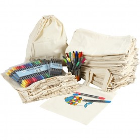 Drawstring and shopping bags with marker, assorted colours, size 27,5x30 cm, 1 set