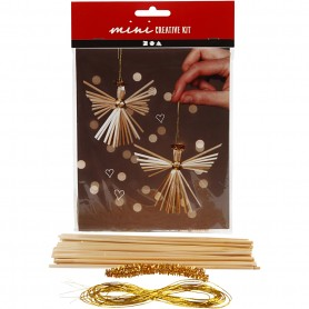 Creative mini kit, straw angel, H: 8 cm, 2 pc/ 1 set