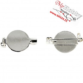 Brooch Backs, D: 20 mm, silver-plated, 100pcs