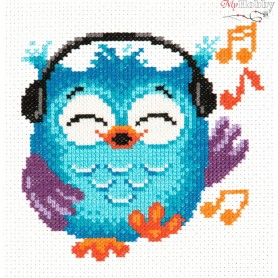 Complete Counted Cross Stitch Kit 'Owlet' 14 x 15cm - MAGIC NEEDLE art: 10-33