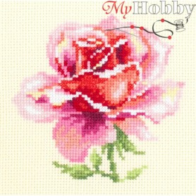 Complete Counted Cross Stitch Kit 'Pink Rose' 11 x 11cm - MAGIC NEEDLE art: 150-002