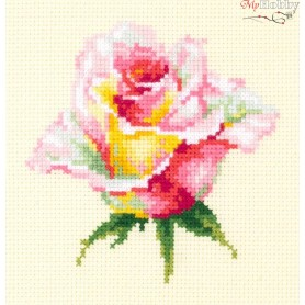 Complete Counted Cross Stitch Kit 'Blooming Rose' 11 x 11cm - MAGIC NEEDLE art: 150-004