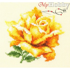 Complete Counted Cross Stitch Kit 'Yellow Rose' 11 x 11cm - MAGIC NEEDLE art: 150-005