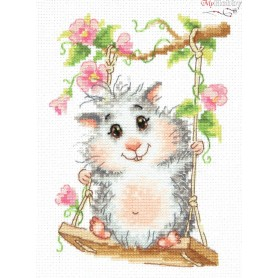 Complete Counted Cross Stitch Kit 'On the Swing' 12 x 17cm - MAGIC NEEDLE art: 19-13