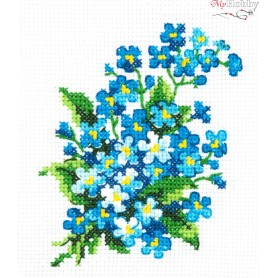 Complete Counted Cross Stitch Kit 'Forget-me-Nots' 10 x 11cm - MAGIC NEEDLE art: 28-06