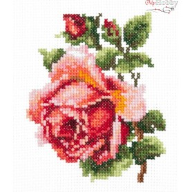 Complete Counted Cross Stitch Kit 'Small Rose' 10 x 11cm - MAGIC NEEDLE art: 28-08