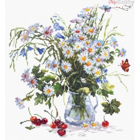 Complete Counted Cross Stitch Kit 'Daisies and Bluebells' 29 x 32cm - MAGIC NEEDLE art: 40-40