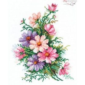 Complete Counted Cross Stitch Kit 'Cosmos Flowers' 18 x 24cm - MAGIC NEEDLE art: 40-54