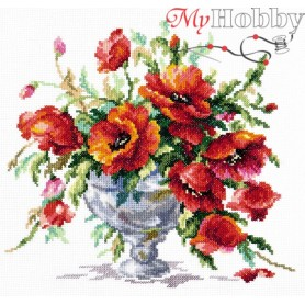 Complete Counted Cross Stitch Kit 'Red Poppies' 27 x 24cm - MAGIC NEEDLE art: 40-60