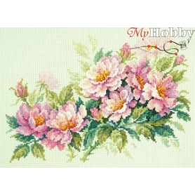 Complete Counted Cross Stitch Kit 'Dog-Rose Flowers' 30 x 20cm - MAGIC NEEDLE art: 40-74