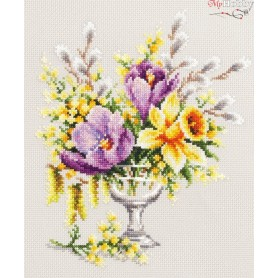 Complete Counted Cross Stitch Kit 'Spring Bouquet' 20 x 23cm - MAGIC NEEDLE art: 100-002