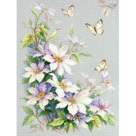 Complete Counted Cross Stitch Kit 'Clematis' 28 x 39cm - MAGIC NEEDLE art: 100-062