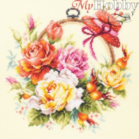 Complete Counted Cross Stitch Kit 'Roses for Needlewoman' 25 x 25cm - MAGIC NEEDLE art: 100-122