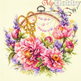 Complete Counted Cross Stitch Kit 'Peonies for Needlewoman' 25 x 25cm - MAGIC NEEDLE art: 100-124