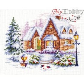 Complete Counted Cross Stitch Kit 'Winter House' 20 x 17cm - MAGIC NEEDLE art: 110-041
