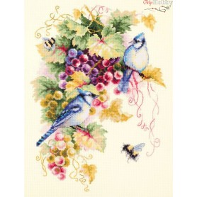 Complete Counted Cross Stitch Kit 'Blue Jay and Grapes' 25 x 35cm - MAGIC NEEDLE art: 130-022