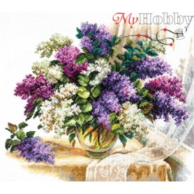 Complete Counted Cross Stitch Kit 'The Scent of Lilacs' 40 x 37cm - MAGIC NEEDLE art: 40-64