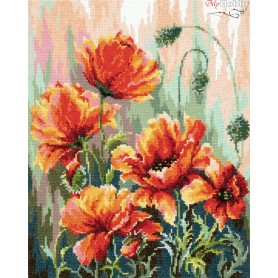 Complete Counted Cross Stitch Kit 'Poppies in the Morning Light' 27 x 34cm - MAGIC NEEDLE art: 40-72