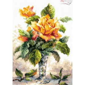 Complete Counted Cross Stitch Kit 'Yellow Roses' 20 x 27cm - MAGIC NEEDLE art: 40-79