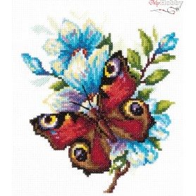 Complete Counted Cross Stitch Kit 'Peacock Butterfly' 17 x 17cm - MAGIC NEEDLE art: 42-09