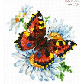 Complete Counted Cross Stitch Kit 'Butterfly and Daisies' 17 x 18cm - MAGIC NEEDLE art: 42-11